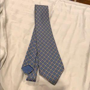 Authentic men's Hermès Tie Paris silk green blue